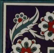 """Turkish 4""""x4"""" (10cmx10cm) Ottoman Iznik Daisy Pattern Ceramic Tile Border CORNER"""