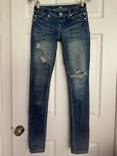 Almost Famous Women's Distressed Skinny Thick Stitch Blue Denim Jeans Sz 1