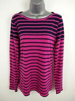 WOMENS J.CREW ARTIST PINK/NAVY STRIPED LONG SLEEVED CASUAL SHIRT BLOUSE L LARGE