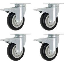 "Set 4 3"" Caster Wheels Swivel Plate Total Lock Brake Black Polyurethane"