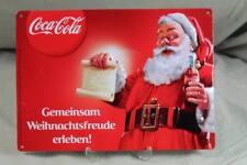 Coca Cola - älteres Repro Blechschild - Weihnachtsmann Motiv 29,5x21 cm.   /S43