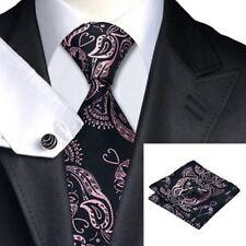 Jason&Vogue Designer Krawatten-Set inschwarz mit rosa Paisley