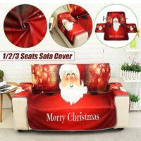 1/2/3 Seat Christmas Sofa Couch Cover Non-slip Slipcover Mat Santa Claus Xmas AU