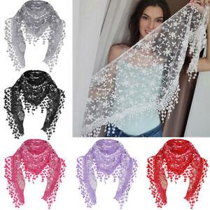 Women Lace Floral Print Triangle Veil Church Mantilla Scarf Shawl Wrap Tassel uk