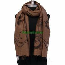 New Pashmina Paisley Floral Silk Wool Scarf Wrap Shawl Soft Classic Brown #J02