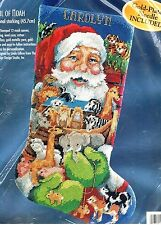 Bucilla Needlepoint ARMFUL OF NOAH Christmas Stocking Kit Santa Animals L Gillum