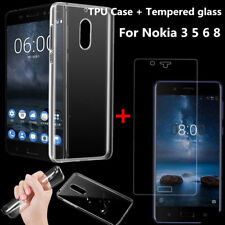 Clear TPU Gel Case Cover + Tempered Glass Screen Protector For Nokia 1 2 3 5 6 8
