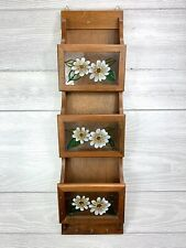Vintage Wood  Stain Glass Flowers Bill Holder, Wall Mount  With Keychain holder