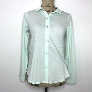Eileen Fisher Long Sleeve Top Shirt Green Women's PP Petite