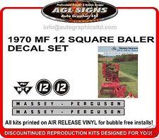 MASSEY FERGUSON 12 Square Baler Reproduction  Decal Set  MF 12