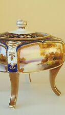 Noritake hand painted dressing table  casket with lid sitting on 4 legs c1920s