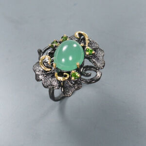 Natural Chrysoprase 925 Sterling Silver Ring Size 7/RR17-0966
