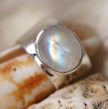 Massiv Silberring 58 Mondstein Weiß Bunt Schimmer Handarbeit Silber Ring Eckig