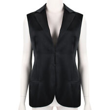 Akris Luxurious Black Satin Tuxedo Inspired Waistcoat Top UK10 IT42