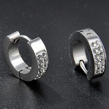 1 Pair Titanium Steel Silver Tone Hoop Earrings Crystal Plated Ear Studs Man's