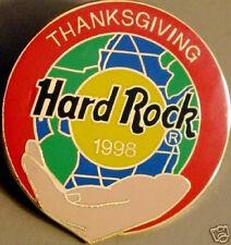 Hard Rock Cafe ONLINE 1998 THANKSGIVING PIN Globe & Hand ON-LINE