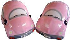 Pink VW Beetle Salt & Pepper Shakers Ceramic Collectable Volkswagen