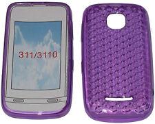Para Nokia Asha 311 / 3110 patrón Gel Suave Funda Protectora Protector Bolsa Púrpura Nuevo