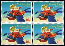 1995 Christmas Island 40c Santa Block of Four MUH Mint Stamps Australia