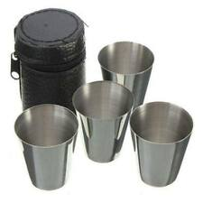 4pcs Stainless Steel Camping/Travel Cup Mini Mug Drinking Coffee Beer Tea + Case