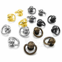 Ball post with Swivel D ring dee ring leather different colours screw rivets AF8
