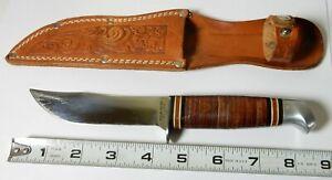 VINTAGE SCHRADE WALDEN HIGGINS FIXED BLADE HUNTING KNIFE & SHEATH