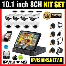 "CCTV Security Camera KIT : 10.1"" LCD 8CH AHD DVR + HDD 2TB + 8 Cameras (2MP)"