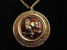 Signed Direction One Chain Necklace Aries Pendant Astrology Gold Tone Vintage