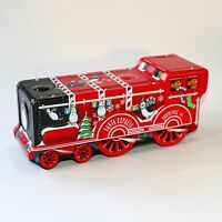 SANTA EXPRESS NORTH POLE 101 TIN TRAIN SHAPED EMBOSSED BY SILVER CRANE COMPANY