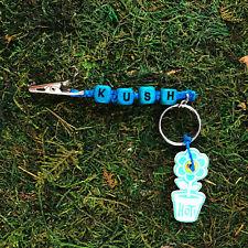 HOTI Hemp Handmade KUSH Turquoise Keychain Roach Clip 420 Square Wood Beads NWT
