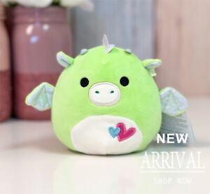 "KellyToy Squishmallow 4.5"" Desmund the Green Dragon Valentines LT ED HTF Plush"