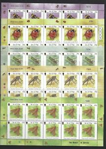 ISLE OF MAN 2001 INSECTS IN COMPLETE SHEETLETS UNMOUNTED MINT, MNH