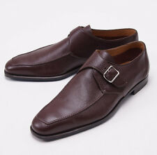 NIB $1080 SUTOR MANTELLASSI Brown Pebbled Nappa Calf Monkstraps US 12 D Shoes