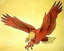 Vintage 70s Original RoAcH Attacking Bald Eagle Iron-On Transfer USA RARE!