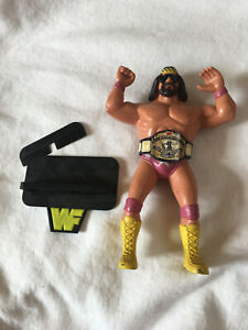 vintage WWF LJN Macho Man Randy Savage 1986 with custom stand and belt
