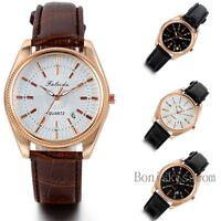 Luxury Men's Women's Calendar Date Leather Stainless Steel Quartz Wrist Watch