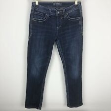 Silver Jeans Womens Natsuki Capri Distress Medium Wash Denim Jeans - Size 27