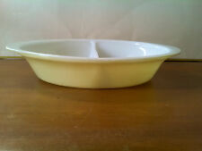 Vintage GLASBAKE Divided Oval Casserole Dish YELLOW J-239 USA