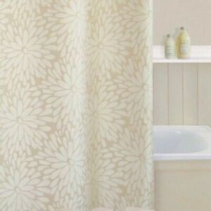 Shower Curtain Petal Flower Design Beige Cream Polyester Includes Hooks SC131