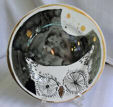 """Anthropologie Solstice Sonnet 8 1/4"""" Bone China Owl Plate Gilt Embellished-Lk Nu"""