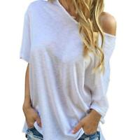 Women Ladies Summer One Shoulder Short Sleeve Blouse Loose Casual Tops T-Shirt