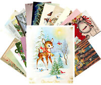 Postcards Pack [24 cards] Vintage Christmas Cute Kitten Cat Forest Animal CF7005