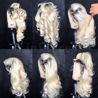 US 100 Real Remy Brazilian Human Hair Lace Front Wig Bleached Blonde Full Wigs P