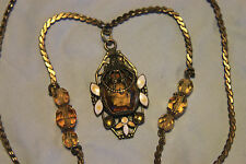 Neiger Brothers Amber Czech Glass, Brass and Enamel Dot and Leaf Necklace