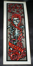 Vintage gray Baker punk skateboard Skeleton & Roses music stickers & decals