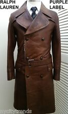 New Ralph Lauren Purple Label leather jacket military trench coat over brown S