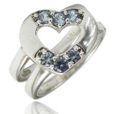 Anello cuore doppio gambo in argento 925 rodiato con zirconi azzurri Benetton