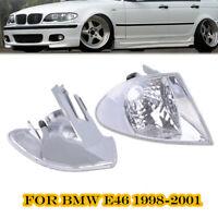 Pair Clear Corner Parking Signal Lights for 1999-2001 BMW E46 3-Series Sedan