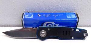 Colt CT470 Black & Blue Stainless Steel Folding Pocket Knife & Original Box