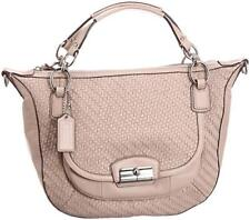 COACH Kristin Woven Leather Round Satchel Shoulder Bag PINK TUBEROSE